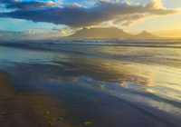 View of table mountain from Bloubergstrand beach, Cape Town, South Africa