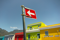 Colourful building exteriors and road signs, Bo-Kaap area, Cape Town, South Africa