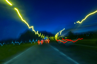 Diminishing perspective of long exposure light trails