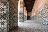 Tiled portico at Ben Youssef Madrasa, Marrakech, Morocco