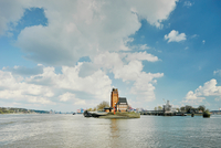 Watchtower lighthouse on river Elbe peninsula, Hamburg, Germany