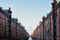 Historic warehouses and waterway, Speicherstadt, Hamburg, Germany