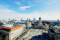Elevated cityscape with German Cathedral and Geldarmarkt, Berlin, Germany