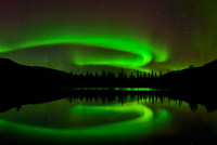 Aurora borealis over Polygonal Lakes area at night, Khibiny mountains, Kola Peninsula, Russia