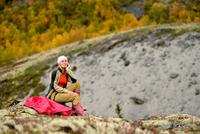 Portrait of female hiker, Khibiny mountains, Kola Peninsula, Russia