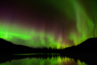 Green aurora borealis at Polygonal Lakes at night, Khibiny mountains, Kola Peninsula, Russia