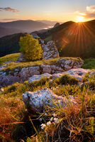 Landscape with rocks at sunset, Bolshoy Thach (Big Thach) Nature Park, Caucasian Mountains, Republic of Adygea, Russia
