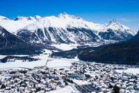 Celerina in snow covered mountain valley, Engadin, Switzerland