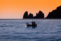 Silhouette of rocks and boat in sea, Capri, Amalfi Coast, Italy