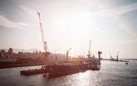 Cargo ship at docklands, Capo Testa, Gallura, Sardinia, Italy