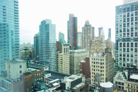 Elevated view of rooftops and skyscrapers, New York, USA