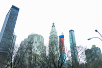 Low angle view of skyscrapers, New York, USA