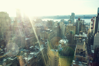 High angle view of cityscape in sunlight, New York, USA