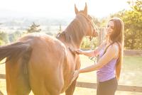 Woman grooming horse