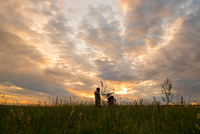 Boy in field with bicycle at sunset