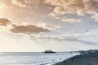 Brighton beach at dusk, England