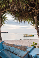 View of sea and boats between trees, Gili Meno, Lombok, Indonesia