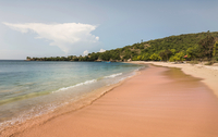 View of beach and sea, Pink Beach, Lombok, Indonesia