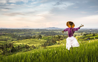 Elevated view of Jatiluwih rice terraces and scarecrow, Bali, Indonesia