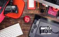 Overhead view of photo editing equipment; graphic tablet,  retro camera, digital camera and computer keyboard 11015295423| 写真素材・ストックフォト・画像・イラスト素材|アマナイメージズ