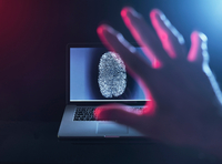 Computer Security, a finger print on a laptop illustrating a personnel password which is about to be hacked 11015295726| 写真素材・ストックフォト・画像・イラスト素材|アマナイメージズ