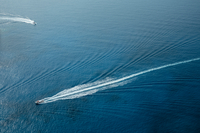Aerial view of boats leaving trails in sea, Zante, Greece