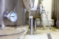 Pressure gauge on brew tank in small scale brewery