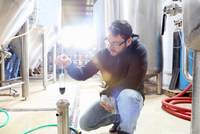 Worker in brewery, checking alcohol and sugar content of product