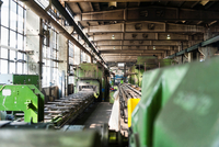 Manufacturing machinery in tyre manufacturing plant, Ballenstedt, Germany