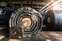 Rolls of rubber in tyre manufacturing plant, Ballenstedt, Germany