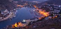 High angle cityscape of Balaklava Bay, Sevastopol City at dawn, Crimea, Ukraine