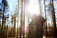 Hiker among trees on sunny day, Keimiotunturi, Lapland, Finland 11015297138| 写真素材・ストックフォト・画像・イラスト素材|アマナイメージズ