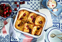 Cherry bread and butter pudding