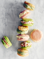 Macaroons on marble top