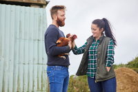 Young couple on chicken farm holding chickens