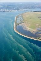 Aerial view of man-made coastline, Copenhagen, Denmark