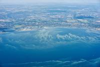 Aerial view of coastline, Copenhagen, Denmark