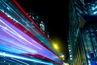 Blurred motion of bus, London, UK