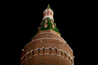 The kremlin tower illuminated at night, Moscow, Russia