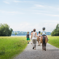 Rear view of parents guiding children on horse, Fuessen, Bavaria, Germany