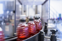Bottles filled with flavoured water in spring water factory