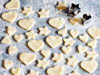 Heart and star shapes cookies with cookie cutters