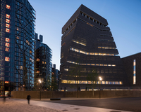 Dusk view of Switch House exterior, Tate Modern, London, UK