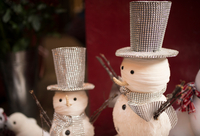 Christmas snowmen in Covent Garden shop window, London, UK
