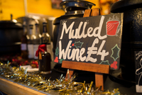 Mulled wine Christmas market stall, South Bank, London, UK