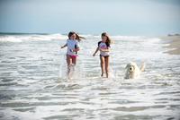 Two young girls running through sea with dog 11015299053| 写真素材・ストックフォト・画像・イラスト素材|アマナイメージズ