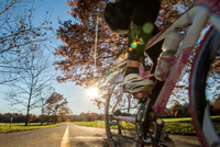 Cropped view of cyclist cycling in sunlight