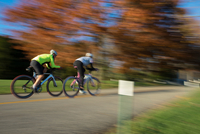 Blurred motion of cyclists cycling