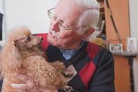 Senior man carrying pet dog at home 11015300349| 写真素材・ストックフォト・画像・イラスト素材|アマナイメージズ