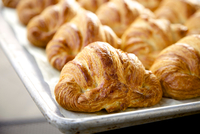 Tray of croissants, close-up